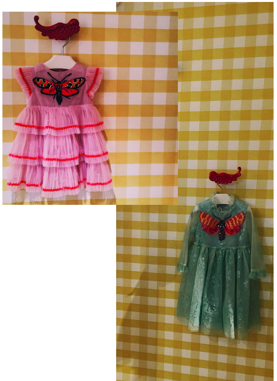 Gucci pink & sparkly green dresses for girls