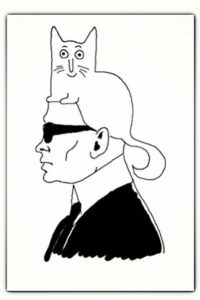 Karl Lagerfeld caricature with his cat Choupette