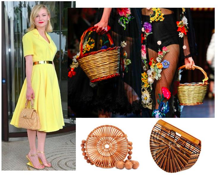 Кирстен Данст с ее сумочкой и идеи плетеных сумок от Dolce & Gabbana и Cult Gaia