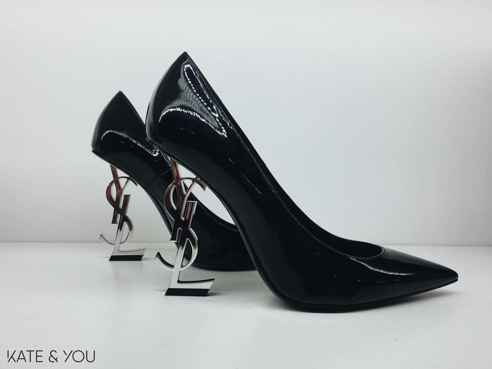 YSL 'OPYUM' 110 with heel in silver and in patent leather
